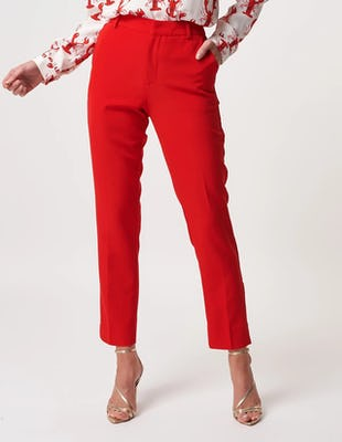 Red High Waisted Wide Leg Tailored Trousers