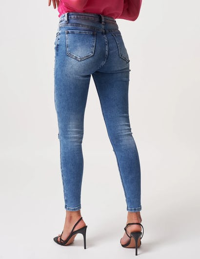 Blue Denim Skinny Jeans with Distressed Detailing