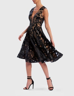 Black and Nude Sequin Embroidered Skater Dress
