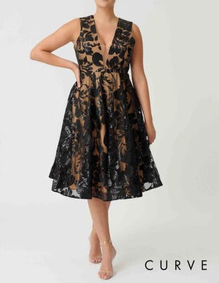 Curve - Black and Nude Sequin Embroidered Skater Dress