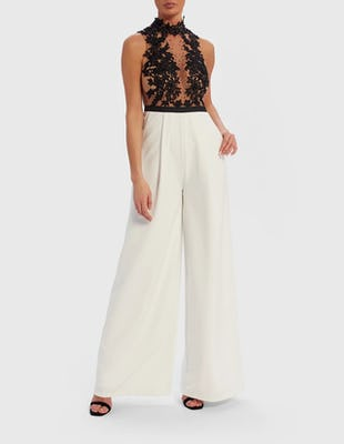 Black and White Lace Embroidered Wide Leg Jumpsuit