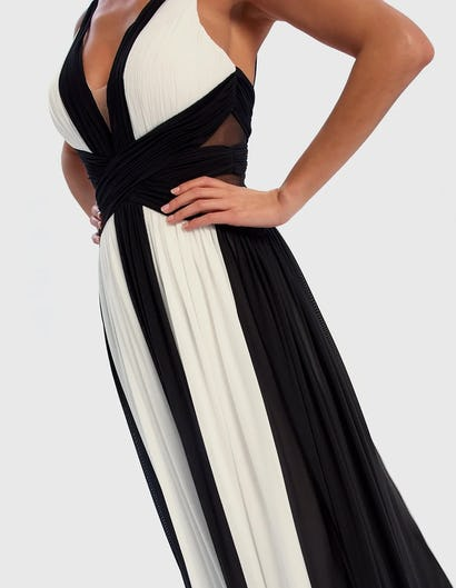 Black and White Contrast Striped Maxi Dress