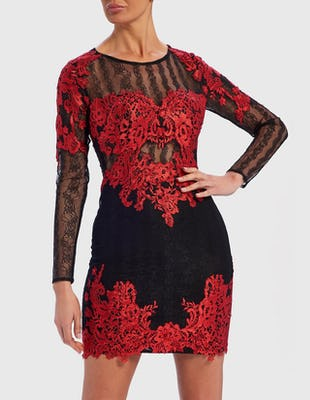 Black and Red Long Sleeve Sheer Lace Appliqué Mini Dress