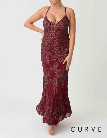 Curve - Burgundy Red Embellished Fishtail Maxi Dress
