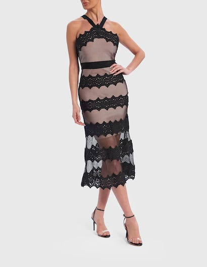 Black and Nude Halter-Neck Lace Embroidered Midi Dress