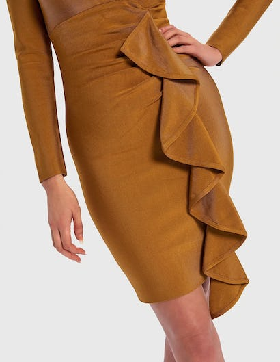 Mustard Yellow Long Sleeve Bandage Bodycon Dress with Ruffle Front