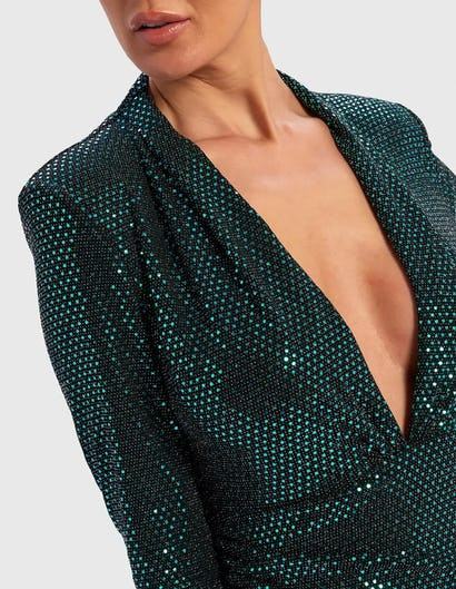 Emerald Green Sequin Long Sleeved Plunging Neckline Dress