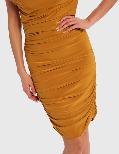 Mustard Yellow Off-Shoulder Ruched Midi Dress