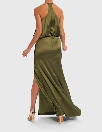 Khaki Satin Maxi Dress with Exaggerated Ruffle Front