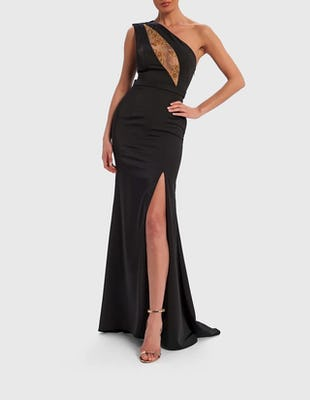 Black One Shoulder Maxi Dress with Gold Embellished Panel