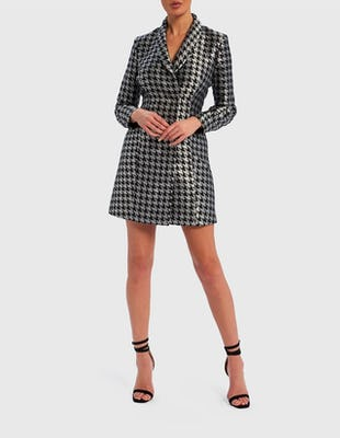 Silver and Black Dogtooth Blazer Dress