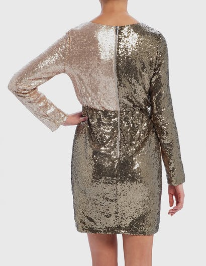 Khaki and Gold Long Sleeve Sequin Wrap Dress