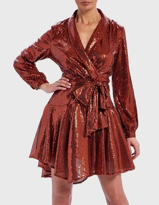 Rust Long Sleeve Sequin Ruffle Wrap Dress