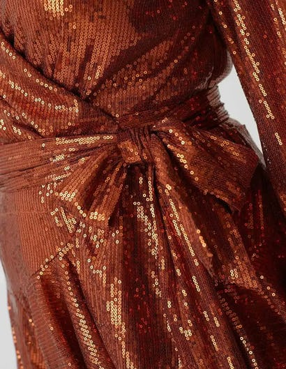 Curve - Rust Long Sleeve Sequin Ruffle Wrap Dress