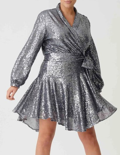 Curve - Silver Long Sleeve Sequin Ruffle Wrap Dress