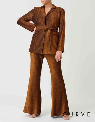 Curve - Bronze Metallic Suit Jacket with Waist Belt