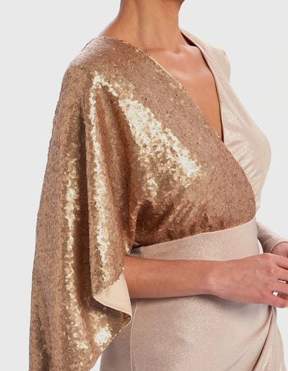 Rose Gold and Metallic Contrast Sequin Long Sleeve Dress