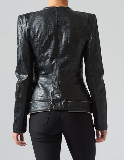 Black PU Ruffle Croc Effect Biker Jacket