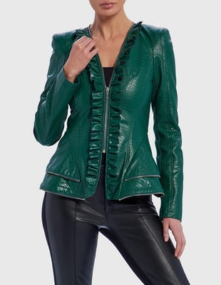 Emerald Green PU Ruffle Croc Effect Biker Jacket