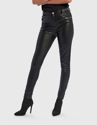 Black PU Trousers with Gold Stud Detail