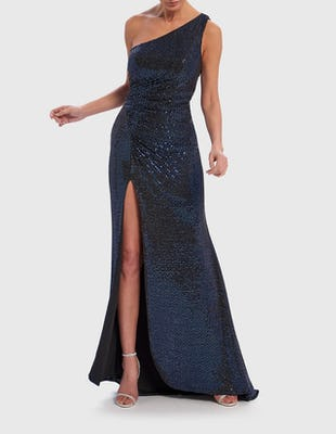 Navy Blue One-Shoulder Sequin Maxi Dress