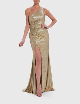Gold One-Shoulder Sequin Maxi Dress