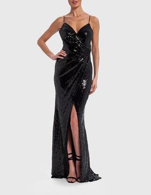 Black Sequin Embellished Wrap Front Maxi Dress with Thigh Split