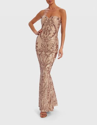 Rose Gold Ornate Sequin Bandeau Fishtail Maxi Dress