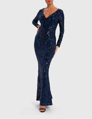 Navy Blue Ornate Sequin Long Sleeve Maxi Dress