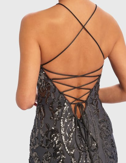 Gunmetal Grey Ornate Sequin Maxi Dress with Lace-Up Back