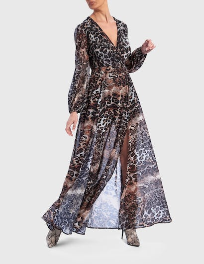 Animal Print Long Sleeve Maxi Wrap Dress