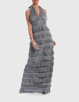 Silver Glitter Tiered Ruffle Halter-Neck Maxi Dress