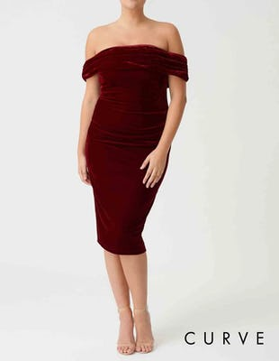 Curve - Red Velvet Bardot Bodycon Midi Dress