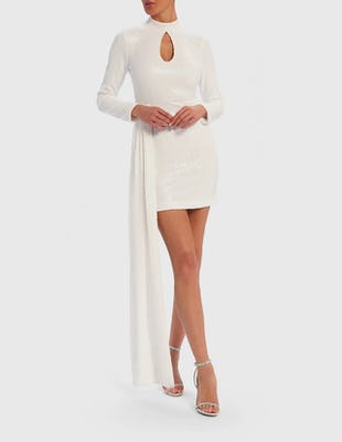 White Sequin Bodycon Dress with Asymmetric Train
