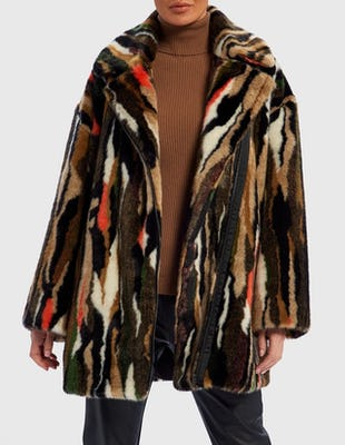 Brown and Red Brush Stroke Faux Fur Coat