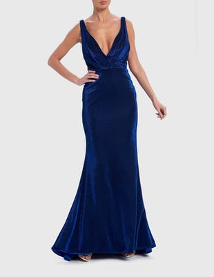 Metallic Blue Draped Maxi Evening Dress