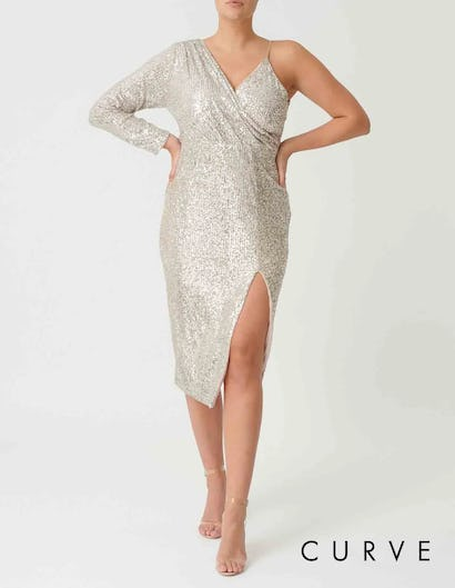 Curve - Silver Sequin One-Sleeved Midi Dress