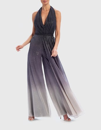 Black and Grey Ombre Effect Halter-Neck Jumpsuit