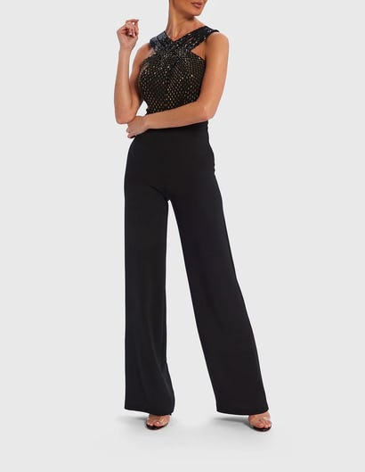 Black, Silver and Gold Cross-Front Jumpsuit