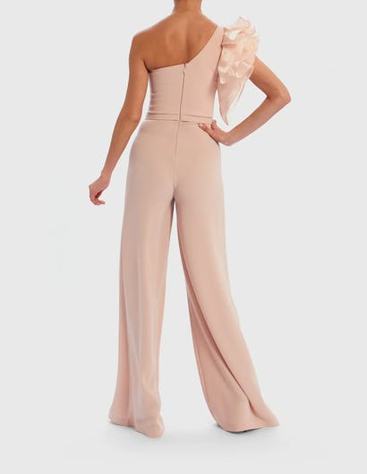 Nude One-Shoulder Extreme Ruffle Wide Leg Jumpsuit