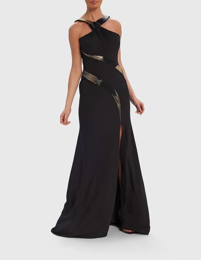 Black and Gold Cross-Front Bead Embellished Maxi Dress