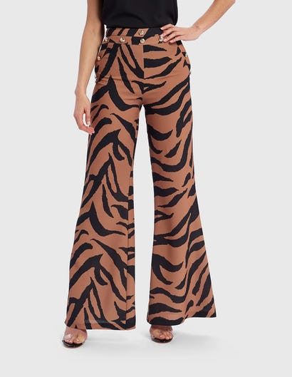 Tan and Black Zebra Print Tailored Trousers
