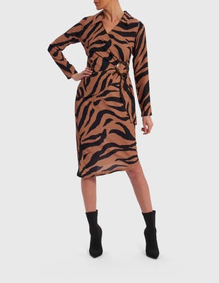 Tan and Black Zebra Print Long Sleeve Midi Wrap Dress