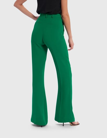 Emerald Green Flared Tailored Suit Trousers