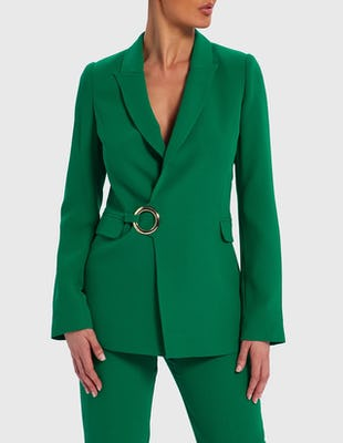 Emerald Green Tailored D-Ring Buckle Suit Jacket