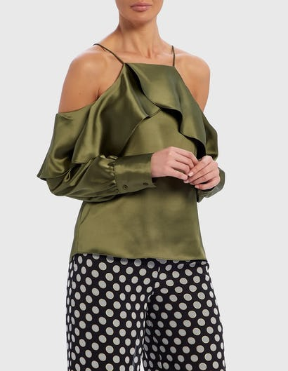 Khaki Green Cold-Shoulder Ruffle Satin Top