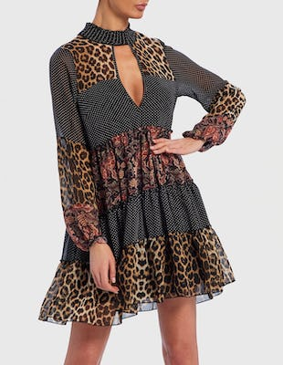 Leopard Print and Floral Contrast Long Sleeve Shift Dress