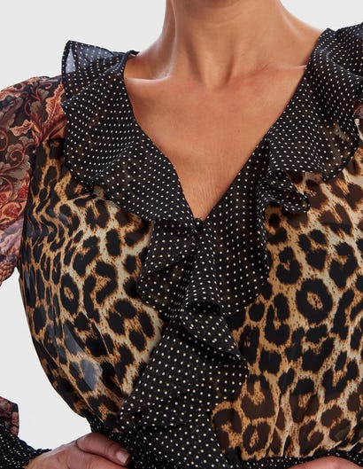 Leopard Print and Floral Contrast Long Sleeve Ruffle Blouse