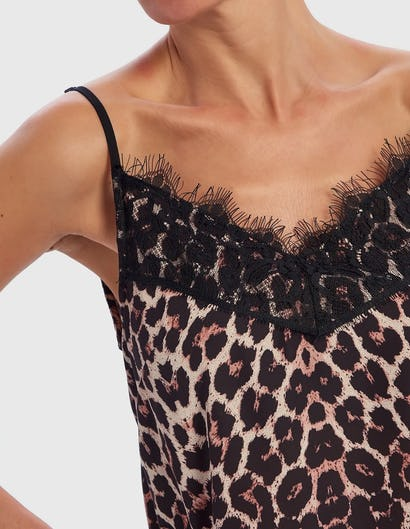 Leopard Print Camisole Top with Black Eyelash Lace Neckline