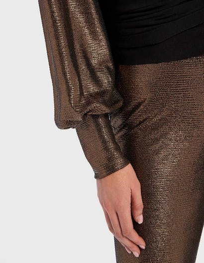 Metallic Gold and Black Contrast Long Sleeve Wrap Top
